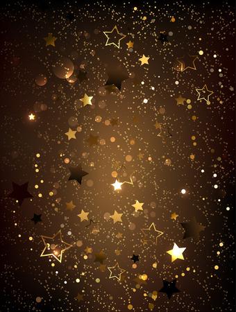 Dark brown textured background with gold shiny little stars.