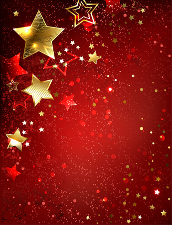 gold stars on red textural background. Illustration