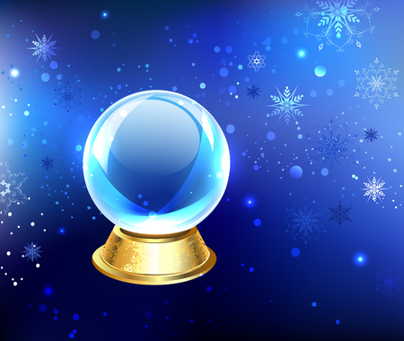 scrying: glass snow globe on a gold pedestal on a blue background with blue snowflakes