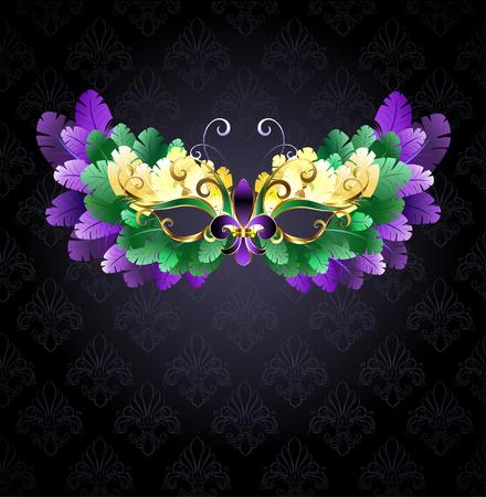 teatro mascara: máscara del carnaval de plumas verdes, púrpuras y amarillas sobre un fondo negro. Vectores