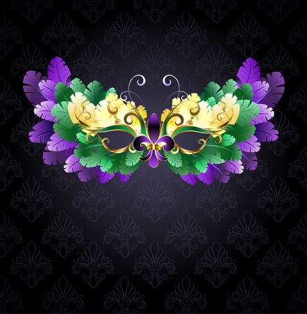 Mardi Gras mask of green, purple and yellow feathers on a black background.