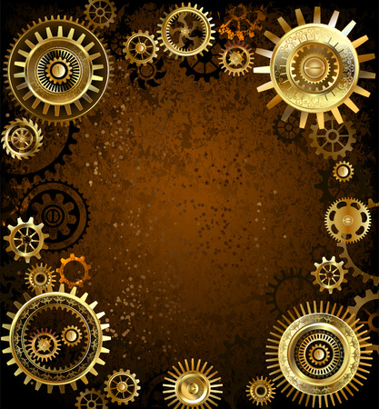 rusty background: gold and brass gears on rusty background.