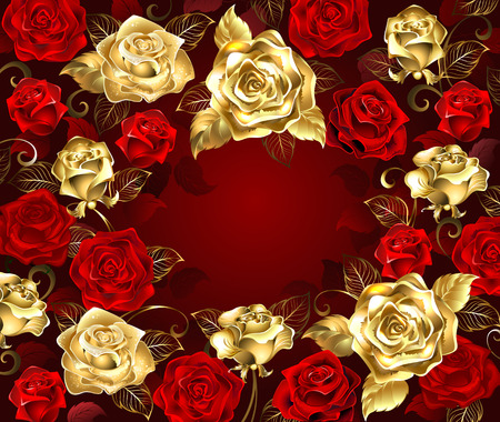 gold and red roses with golden leaves on a red background. Stock Illustratie