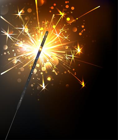 yellow, sparkling sparkler on a black background. Illustration