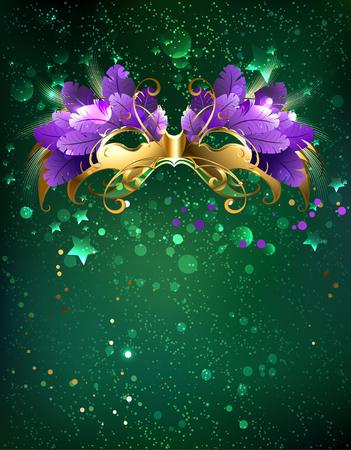 teatro mascara: Carnaval máscara de plumas de color púrpura sobre un fondo verde.