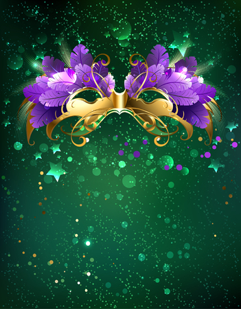 Mardi Gras mask of purple  feathers on a green background.