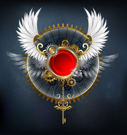 Red round banner with white wings and a golden key on a dark background.