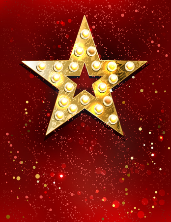 hollywood star: gold star with lights on red velvet background.