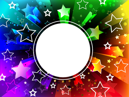 Round white banner on a radiant rainbow background with bright stars.