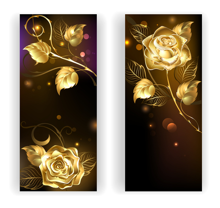 two banners with gold, entwined roses on a black background