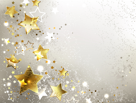 gray textured background with gold stars.