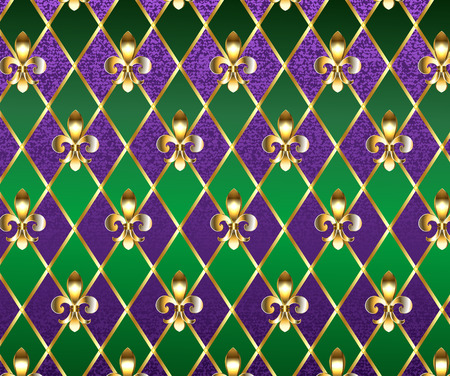 jewelry, background on  Mardi Gras of purple and green rhombus, decorated gold lilies.