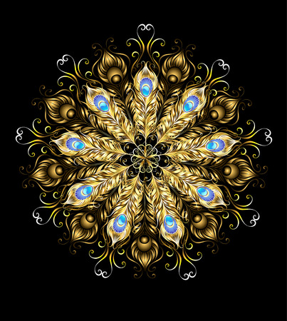 cg: mandala of gold peacock feathers, decorated with turquoise on a black background.