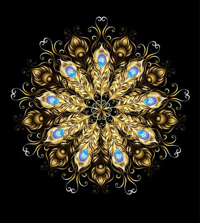 mandala van goud pauwenveren, versierd met turkoois op een zwarte achtergrond.