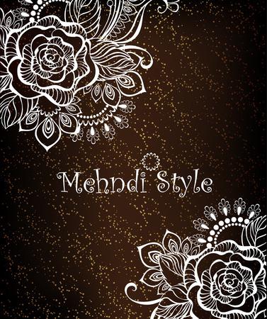 dark brown background: design with rose, henna painted white on a dark brown background