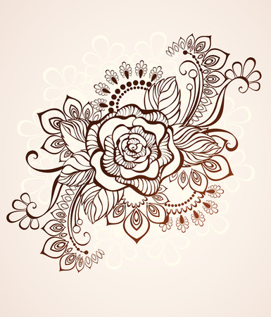 Rose painted in the style of mehendi on a beige background. 矢量图像