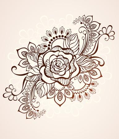 arabesco: Rose pintada en el estilo de mehendi sobre un fondo de color beige. Vectores