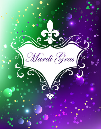 white with a Fleur de Lis on a purple and green shiny background