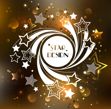 star background: white round with white stars on a rotating glowing golden background.