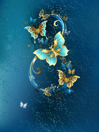 Eight of the luxury, jewelery butterflies on blue textural background. Иллюстрация