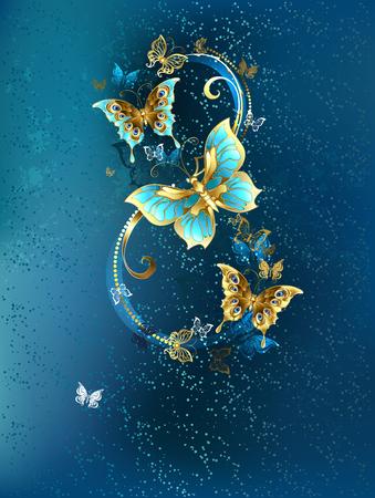 turquesa: Ocho de los de lujo, joyas mariposas sobre fondo azul textura.