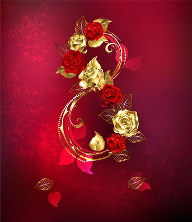 Huit d'or entrelacées et des roses rouges sur fond texture rouge. Vecteurs