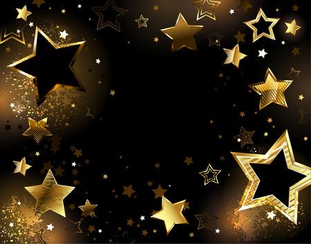 czarnym tle z błyszczące złote gwiazdy. Ilustracje wektorowe