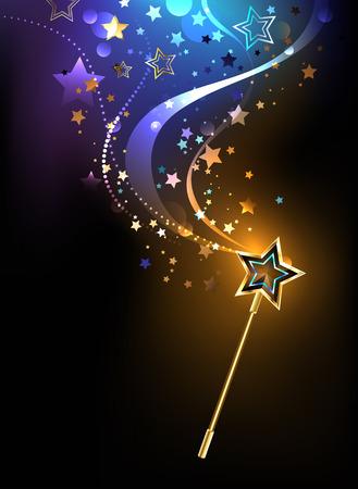 pommel: magical golden wand with golden stars on a black background. Illustration