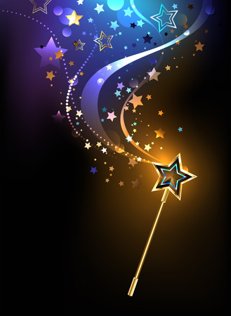 magical golden wand with golden stars on a black background. Stock Illustratie