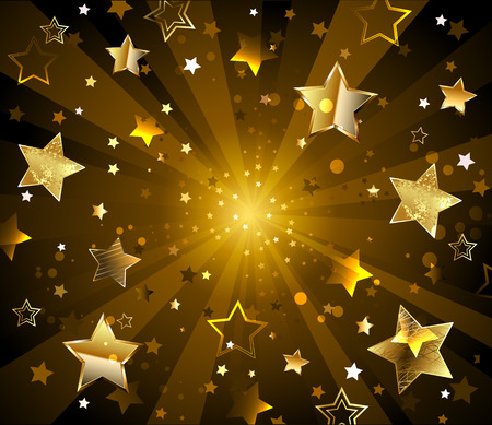 radiant dark background with gold, glittering stars.