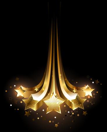 黒地にゴールドに輝く 5 つの彗星。