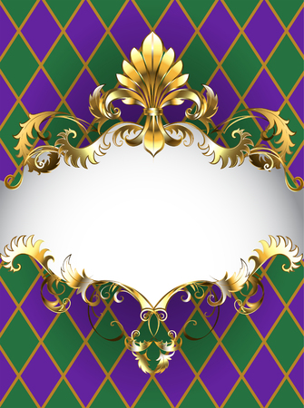 Festive Mardi Gras banner decorated with a gold frame and gold Fleur de Lis on a background of green and purple rhombus Vectores