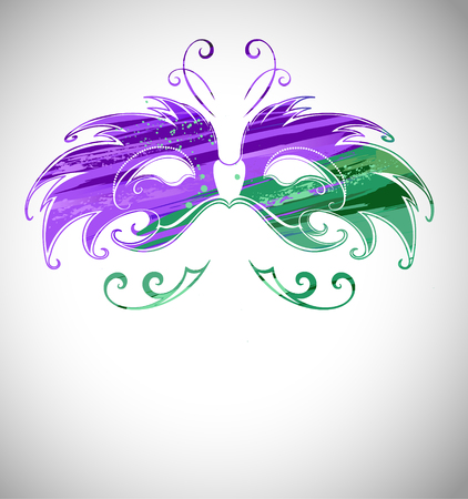 mardi gras mask: Mardi Gras Mask painted green and purple paint on a light background.