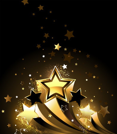 Three sparkling, golden comet on a black background