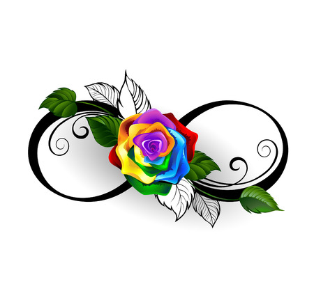 infinity symbol with rainbow rose on a white background. Stock Illustratie