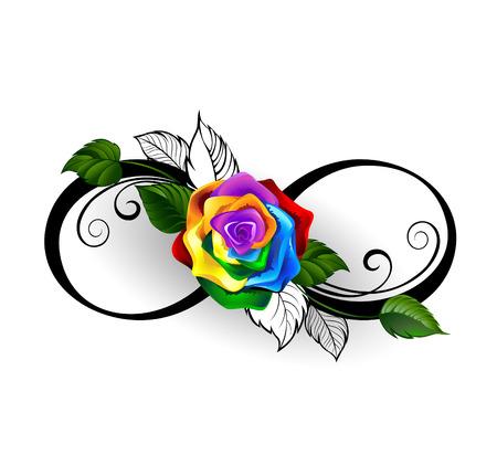signo infinito: símbolo de infinito con el arco iris se levantó en un fondo blanco.