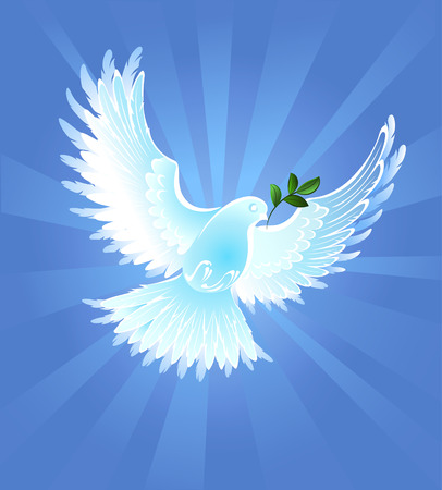artistically: white, artistically painted, the dove of peace with an olive branch, on blue radiant background.