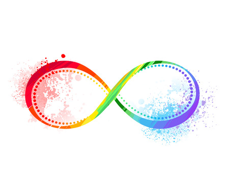 Infinity symbol painted bright rainbow paint on the white background.