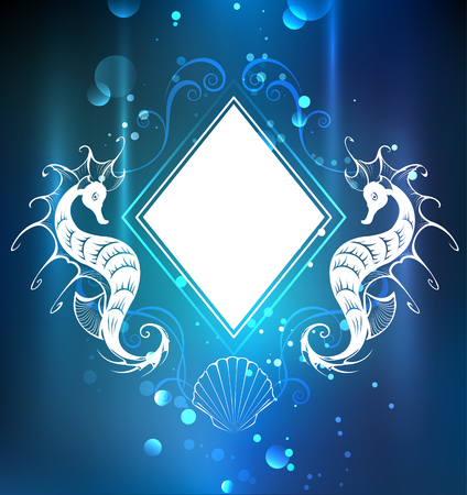 blue sea: White banner in the shape of a rhombus with sea horses on the sea, blue background.