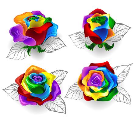 arcoiris: Conjunto de arte pintada rosas del arco iris sobre un fondo blanco.