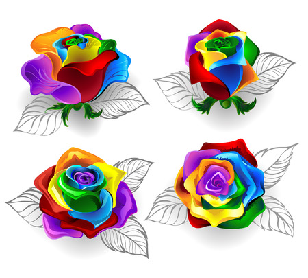 Set of art painted rainbow roses on a white background. Ilustração