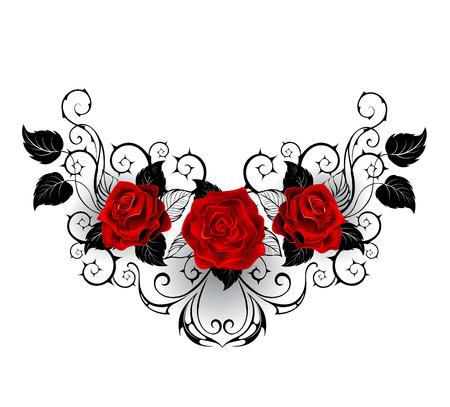 rosas rojas: patrón simétrico con rosas rojas y tallos espinosos y las hojas negras negras sobre un fondo blanco.