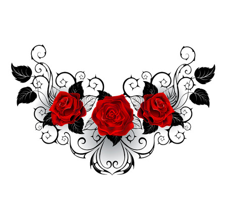 symmetrical pattern with red roses and black spiky stalks and black leaves on a white background. Illustration