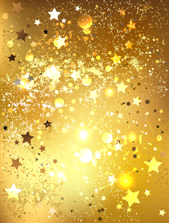 brocade: background of gold foil with shiny gold stars.