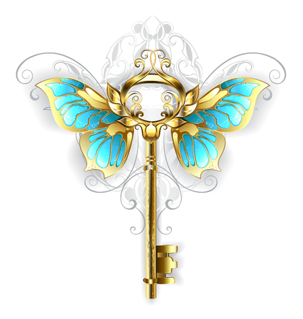 Gold Skeleton Key with gold butterfly wings, decorated with a pattern on a white background. Stock Illustratie