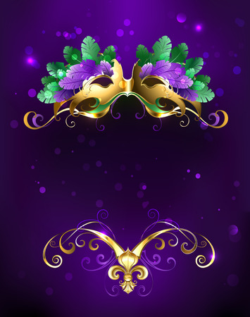 Mardi Gras gold mask of green and purple feathers on a purple background.
