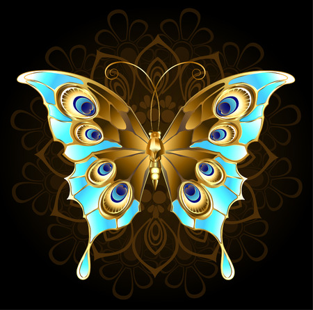 peacock butterfly: gold, butterfly jewelry, decorated with turquoise on a black background.