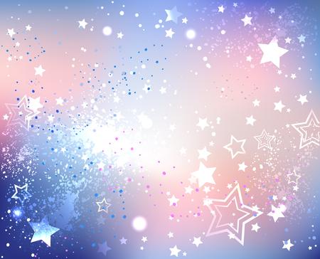 iridescenti sfondo con texture di colori alla moda di quarzo rosa e la serenità con scintillii e stelle. Vettoriali