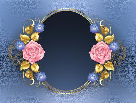 ovalo: bandera oval con rosas de color rosa, hojas de oro y violetas azules en el fondo de brocado azul.
