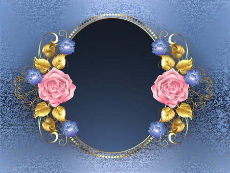 Oval banner with pink roses, gold leaves and violets blue on blue brocade background.